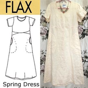 New FLAX Linen Spring Dress Cottage Core NWOT XS P